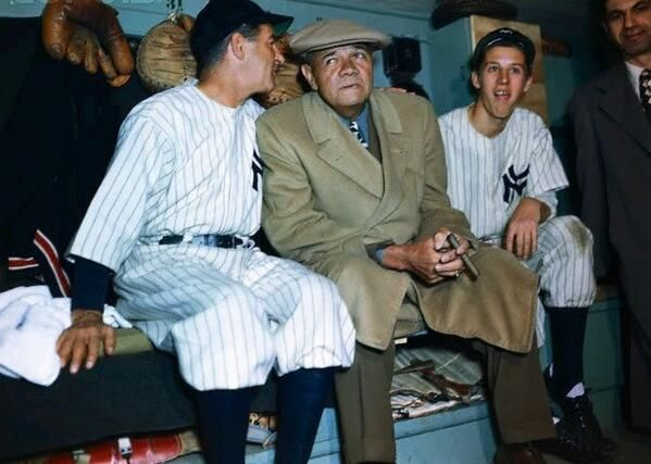 "Here, in color, Babe Ruth on ""Babe Ruth Day"" at Yankee Stadium in 1947, a year before his death: pic.twitter.com/uuL6Nlt84u"