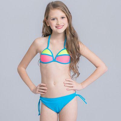 009ddfb868362 Children s Swimwear Solid Color Handcraft Woven Bikini Female Sexy Two-piece  Swimwear