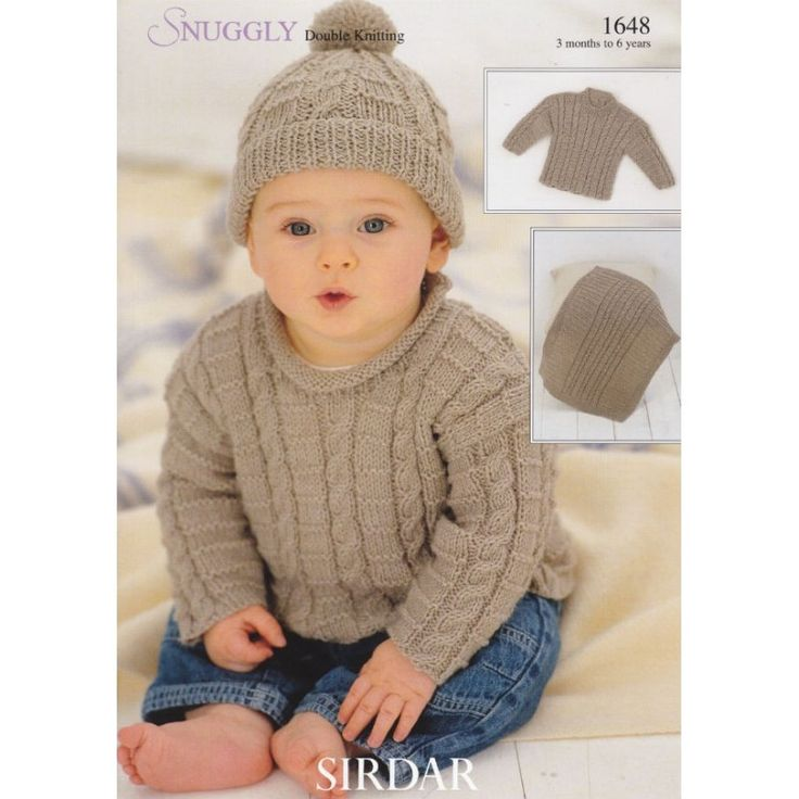 Free Knitting Patterns For Boys Sweaters : 1648 Sirdar Snuggly DK, Boys Cabled Sweater, Hat and Blanket, Knitting Patter...