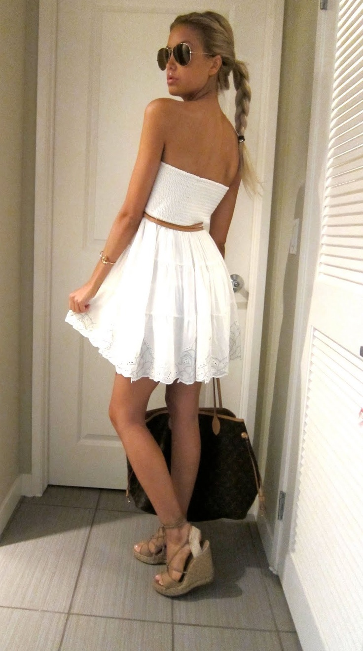white summer dress with wedge sandals and some