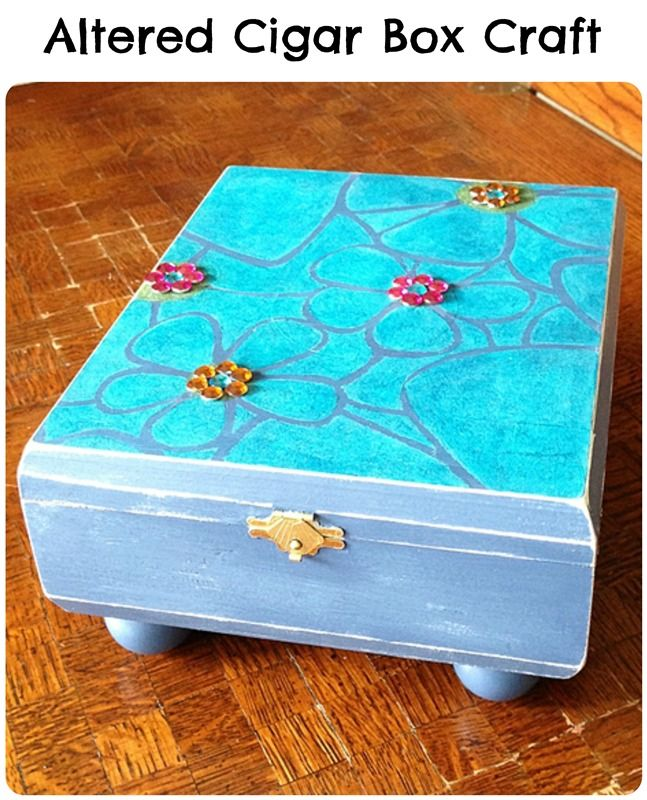 Altered Cigar Box Craft: An old cigar box is upcycled and transformed into a little girl's treasure box!
