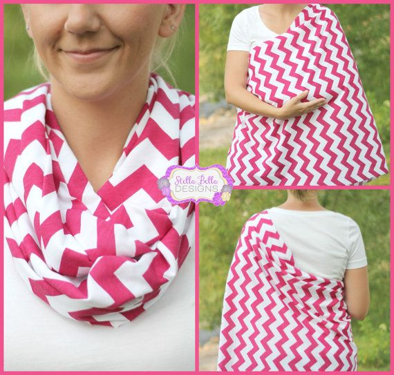 Hold Me Close Nursing Scarf - Wild Fushia Chevron, Nursing Cover, Infinity Scarf, Infinity Nursing Scarf