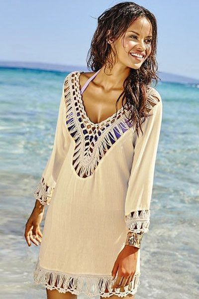 Cheap Apricot Bohemian Crochet Detail Long Sleeve Tunic Beach Cover-Ups On Sale Modeshe.com, Free Shipping With us$60 Purchase.