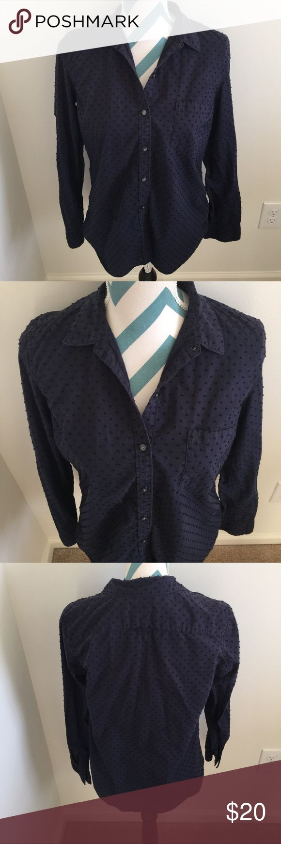Gap Top Pretty navy blue button down with dotted stitching. Boyfriend longer looser fit. No flaws! GAP Tops