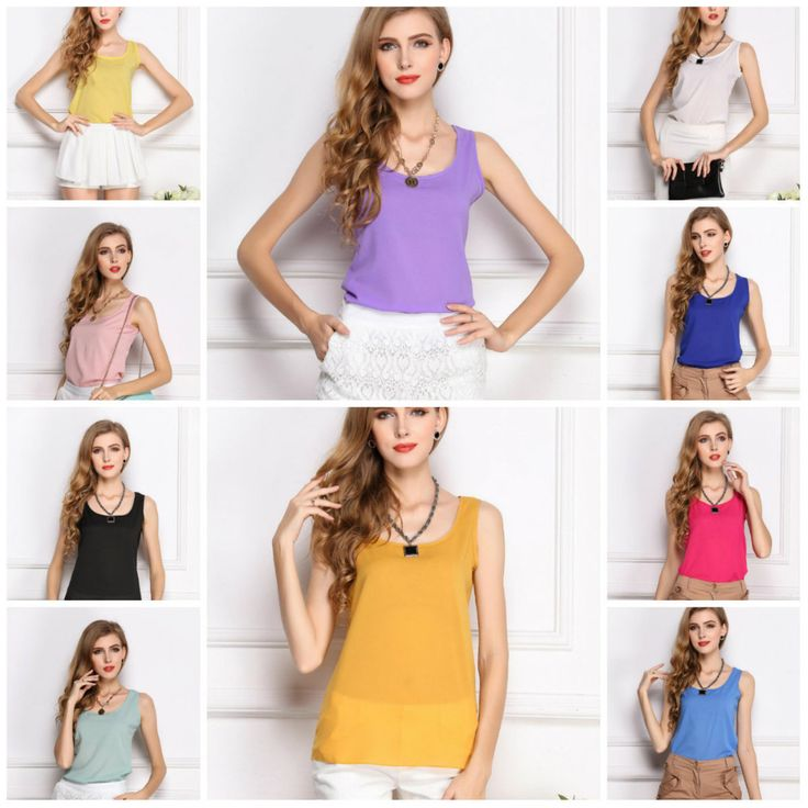 Wholesale 2014 Fashion New Summer Women Clothing Chiffon Sleeveless Solid Neon Candy Color Causal Chiffon Blouse Shirt Women Top