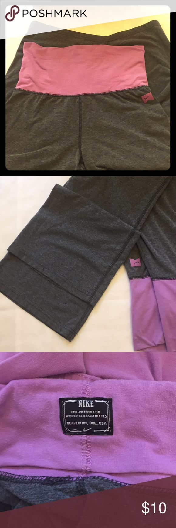 Nike Women's Yoga Pants (L) Grey and violet colored Nike yoga pants!!🌟 In excellent condition no wear/tear/flaws to report. Worn once. Nike Other