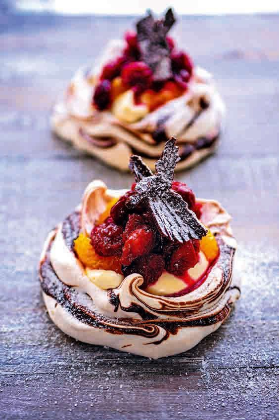 cranberry, orange and chocolate pavlovas