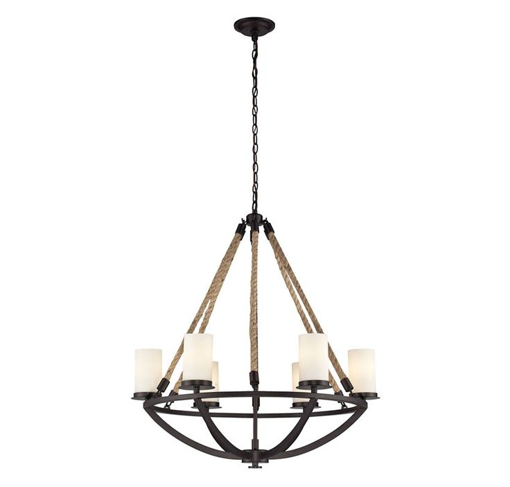 Elk natural rope 6 light chandelier in aged bronze in ceiling lights chandeliers