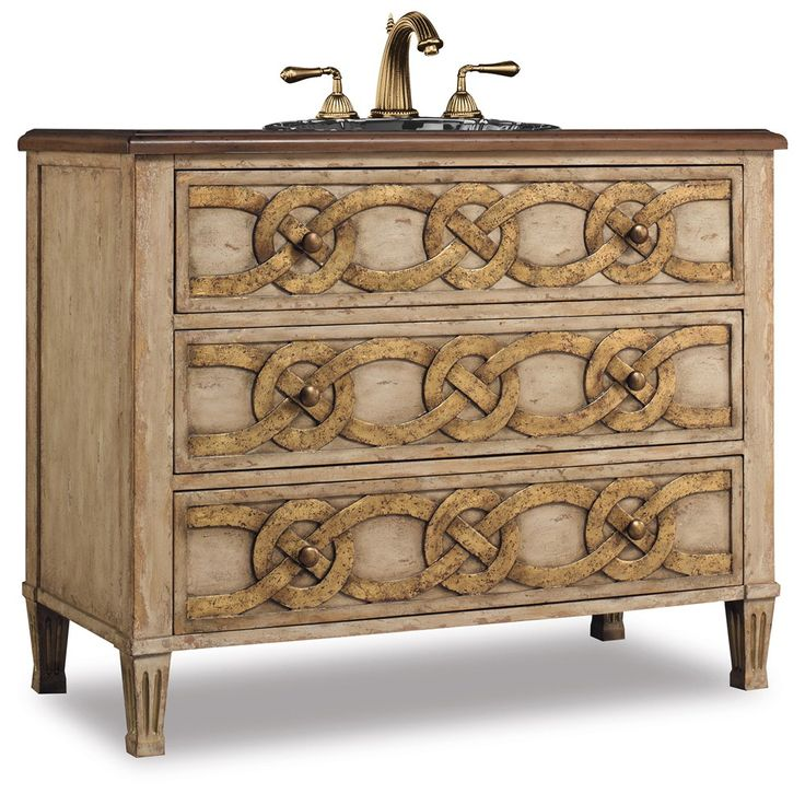 The Middleton Sink Chest Is A Drawered Piece Featuring Knotted Circle Design Handpainted In Distressed Warm Gold Finish Constructed Of Hardwood Solids