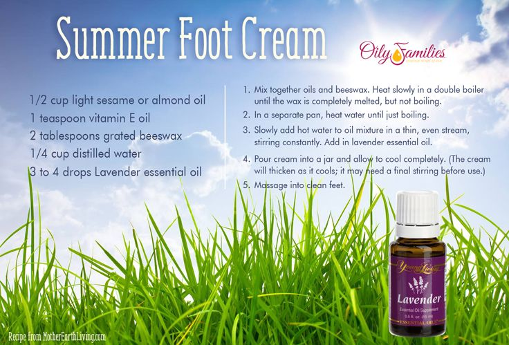 Summer Foot Cream Diy Recipe Youngliving Oilyfamilies