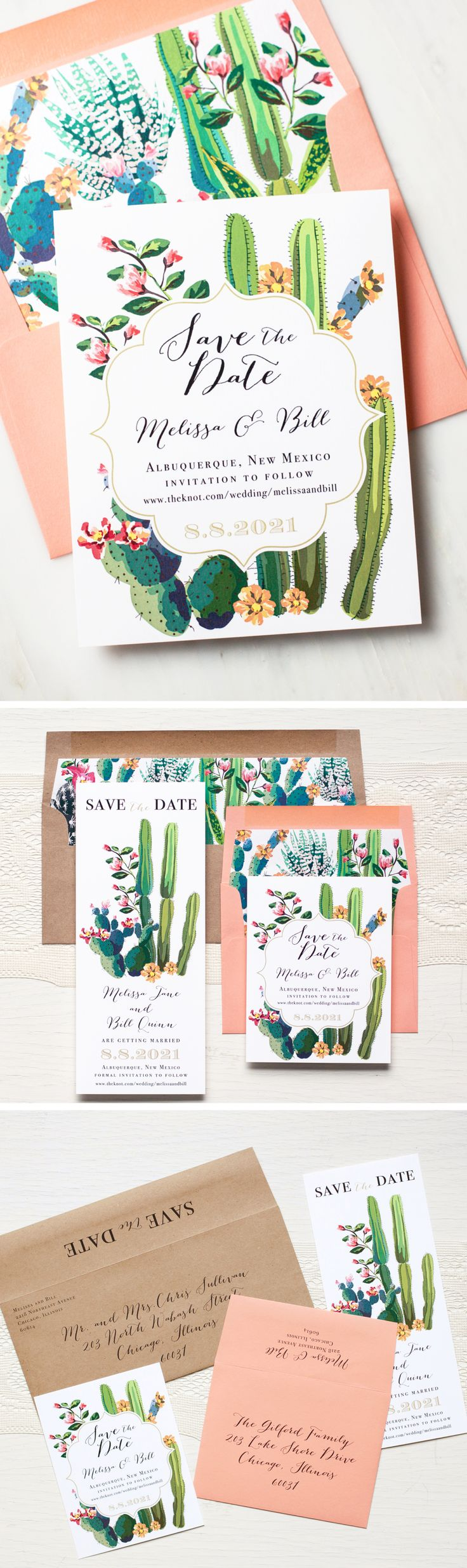 Desert Chic! Unique cactus inspired save the dates. So rustic and chic with colorful cactus graphics, floral blooms and soft coral.