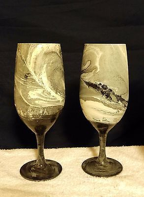 Hand painted Gray White Wine Glasses|Painted Modern Wine Glass|Gray Home Decor