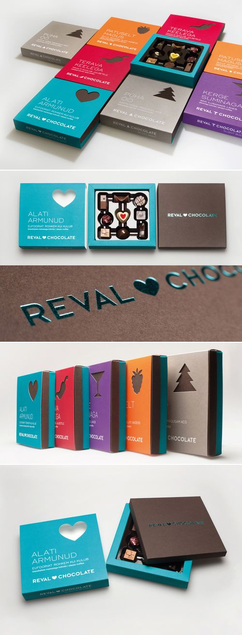 Chocolate box design, developed by AD Angels, uses a color-coding system in combination with a symbolic graphic for seasonal themed chocolates