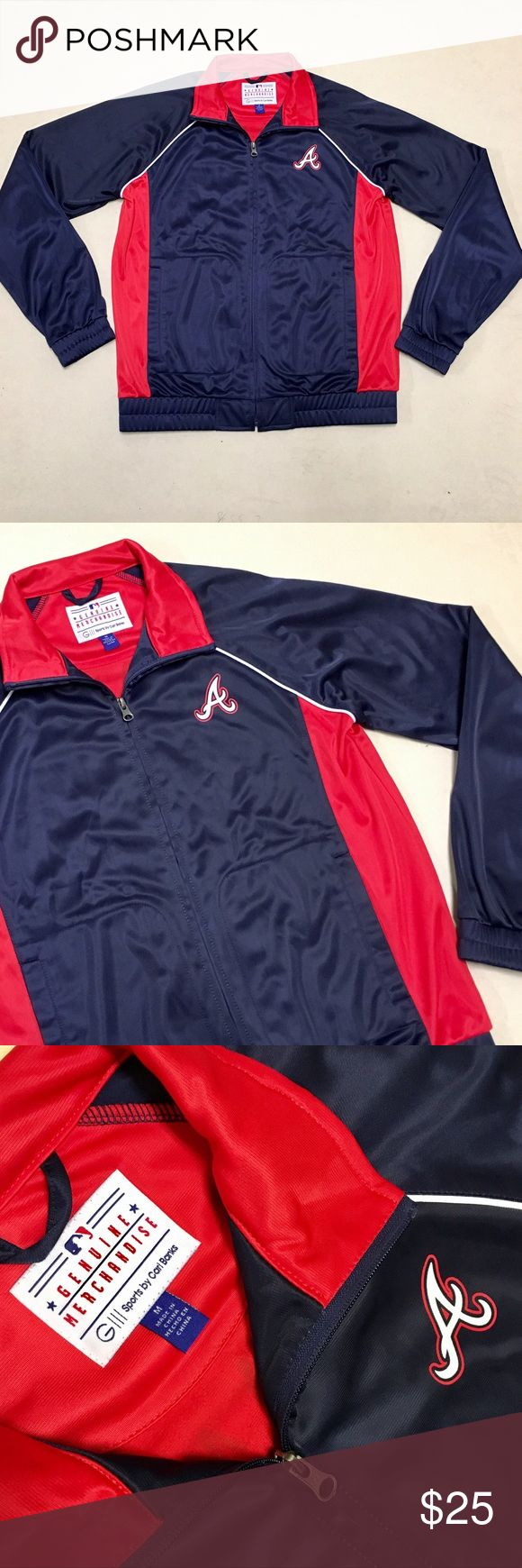 Atlanta Braves - Womens Rhinestone Track Jacket ❤️ Atlanta Braves  Zip-up Rhinestone Zip-up Jacket   Size Women's Medium    💎 Rhinestone Logo on back 💎 New without tags!!   ❤️⚾️💙 MLB Jackets & Coats