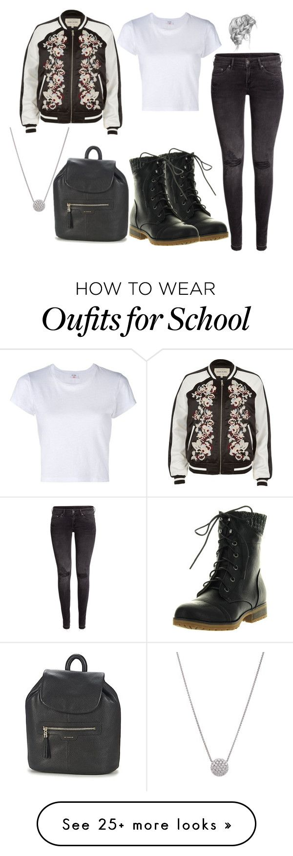 """School"" by rebeccawilson-480 on Polyvore featuring H&M, RE/DONE, Refresh and River Island"