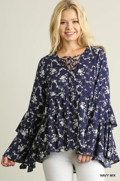 Umgee Layered Bell sleeve peasant top with vintage Floral print