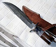 REG 49 - Handmade Damascus Steel 15.25 Inches Bowie Knife - Solid Marindi Wood/Bone Handle(colors may vary on handle)