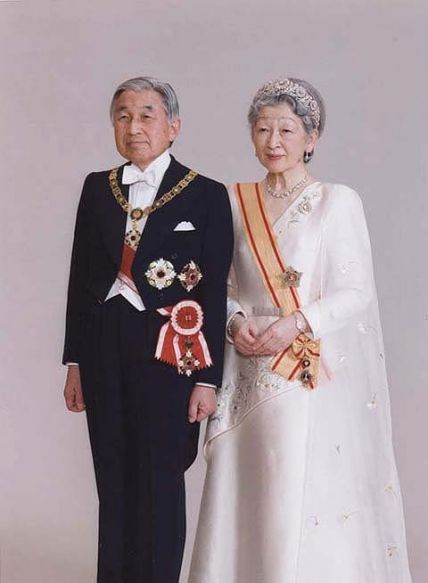 The Imperial Chrysanthemum Tiara: Empress Michiko of Japan (born 1934), pictured here with Emperor Akihito (born 1933), wears the Imperial Chrysanthemum Tiara