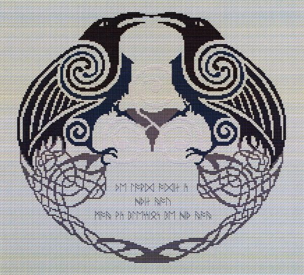 """Odin's Ravens Cross Stitch Pattern - Depictions of the norse god Odin often show him accompanied by two ravens, named Huginn (""""thought"""") and Muninn (""""memory""""). Every day, the two birds fly out over the world, and at evening, they return with news of the day's events. This pattern includes not only the two ravens, but also runes, which read: """"The Lord Odin is within you; May his blessings be with you."""" This design measures 193 stitches wide by 180 stitches high. This is a pattern for counted…"""