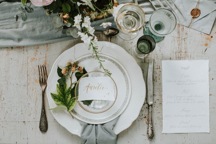 place setting - http://ruffledblog.com/hungarian-chapel-elopement-editorial