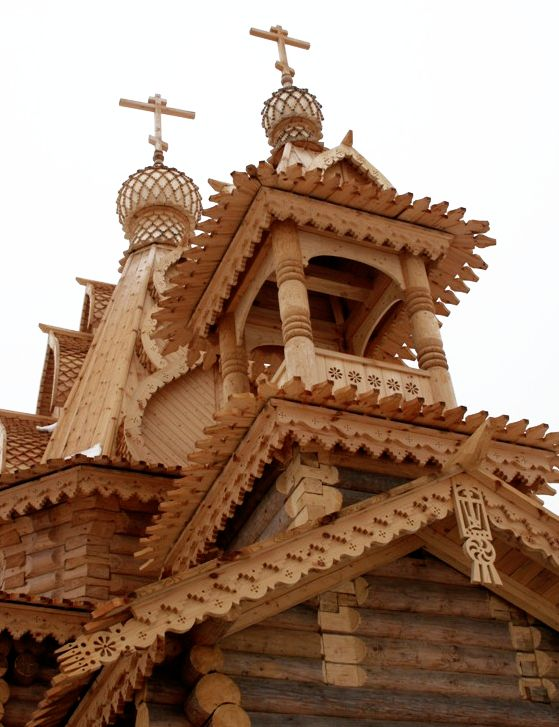 Modern wooden church built in traditional style.