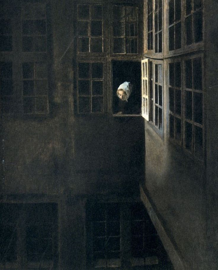 Vilhelm Hammershøi (1864-1916 Danish) • Interior of Courtyard Strandgade 30.
