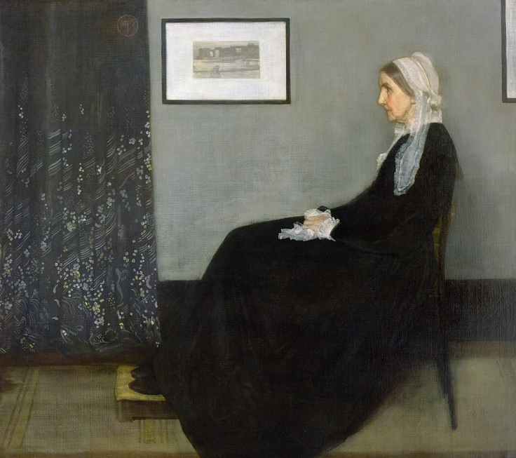 """Having already been accused of """"throwing a pot of paint in the public's face"""" with his Nocturne in Black and Gold, Whistler comes up with this - a real punch in the gut. As the first provocateur of """"art for art's sake"""", he refused to describe this as a portrait of his mother, but rather an 'Arrangement in Black and Grey'. Paying almost absurd attention to formal composition, Whistler is saying that art matters more than family, loyalty or any of the Victorian values."""