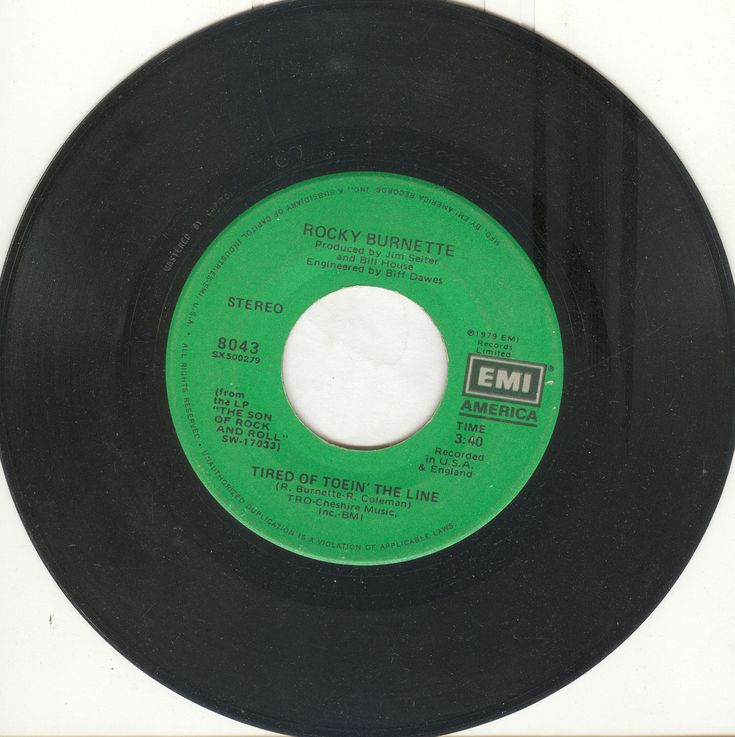 "Rocky Burnette 45 rpm ""Tired of Toein' The Line"""