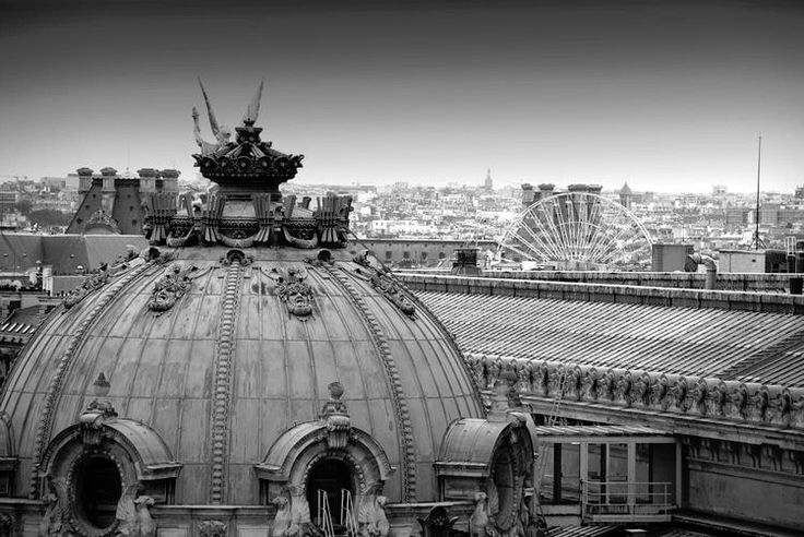 Les toits de Paris. The roof of the Opera photographed with the Grande Roue de Paris in the background. ©  Claudia Meyer
