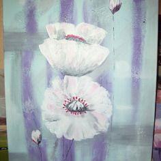 Tableau acrylique fleurs blanches sur fond pastel
