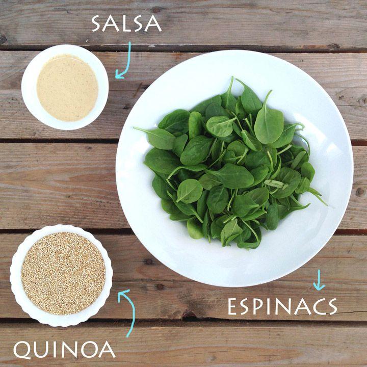 Sopar complet per a dones embarassades: quinoa amb espinacs, ceba deshidratada i salsa de tahina i umeboshi