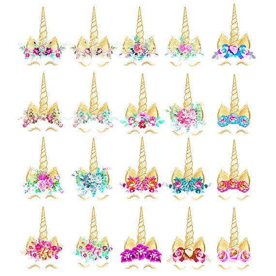 Clipart unicornio: hoja de oro cara de unicornio arcoiris