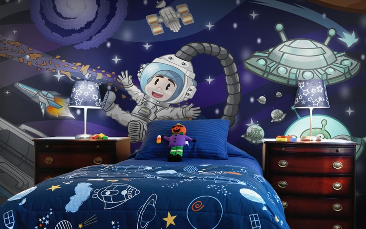 7 best images about boys wallpaper murals on pinterest for Outer space wallpaper for bedroom