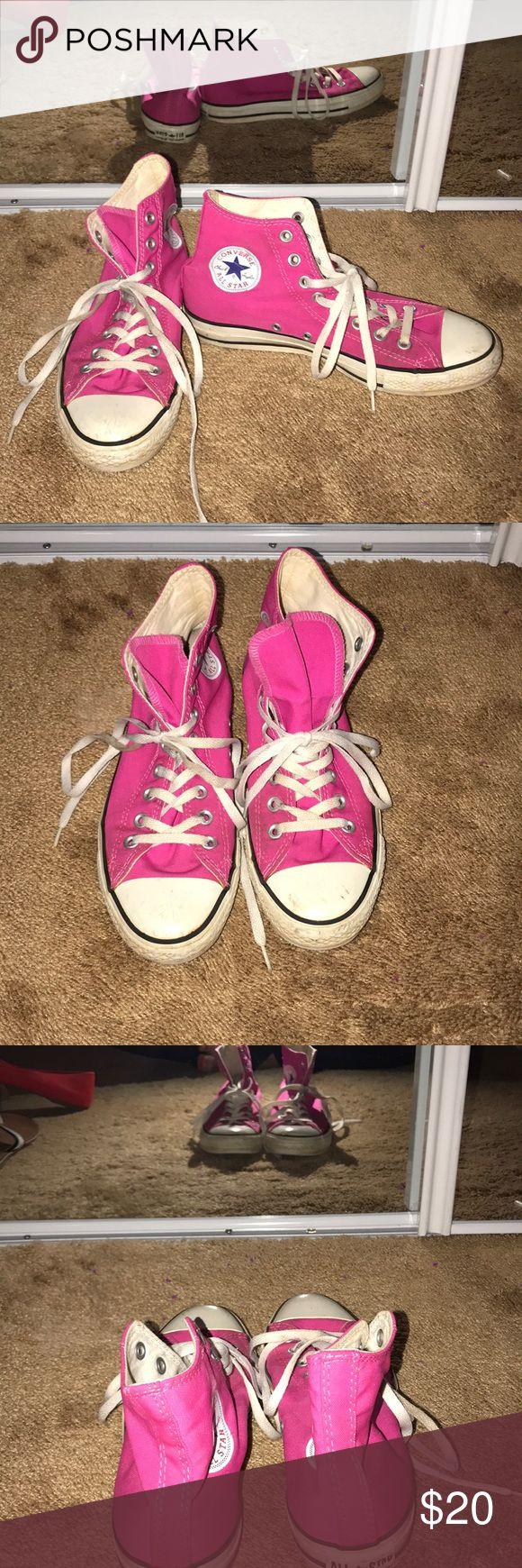 Hot pink converse high tops Super cute and comfy hot pink high top converse!!! Converse Shoes Sneakers