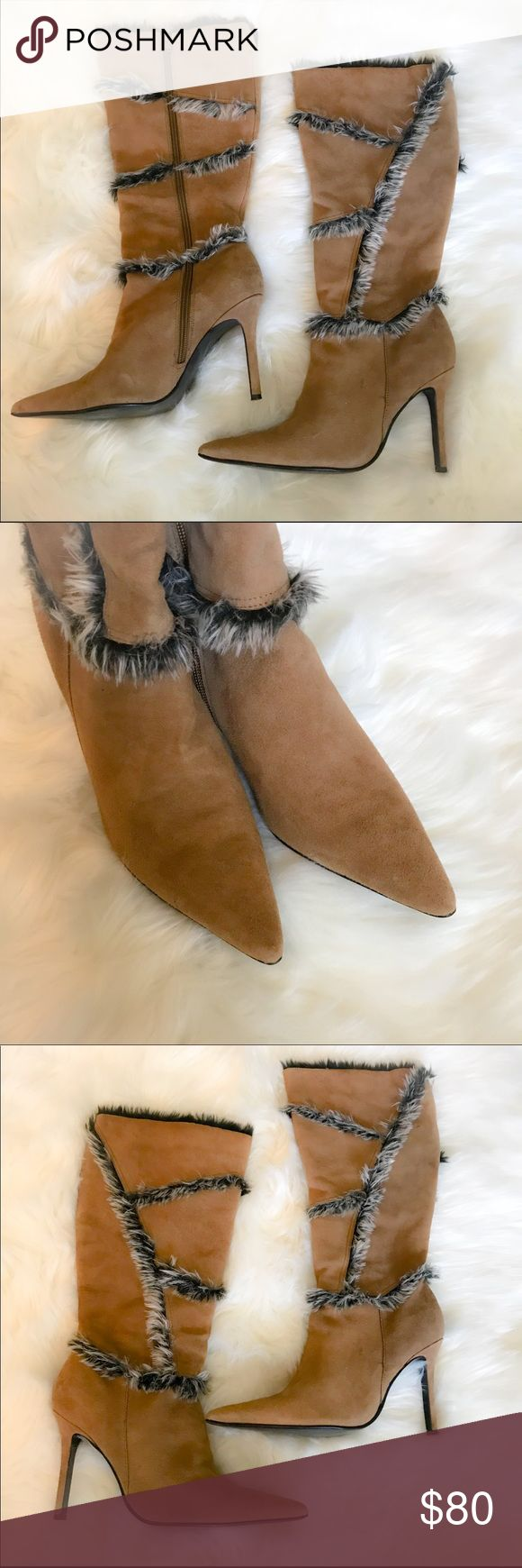"Colin Stuart Leather Fur Lined Boots Colin Stuart Leather Faux fur lined half calve boota size 8. Great condition. Some light specks here and there but nothing really noticeable. Pointed toe and camel color. Heel is approx 4"" Shoes Heeled Boots"