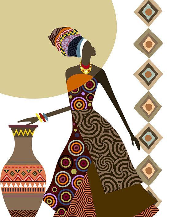 Arte africana Afrocentric Art, arte africana di donna, dipinto, dipinto di donna nero, Black Woman, Afrocentric Decor