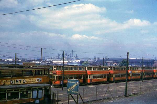 London trams in the 1950's waiting to be scrapped in the Charlton graveyard.