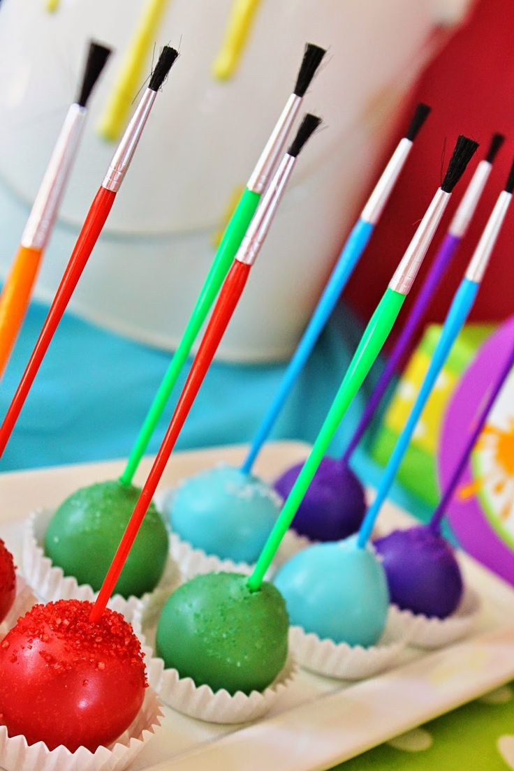 Picasso cake pops for an art party And Everything Sweet