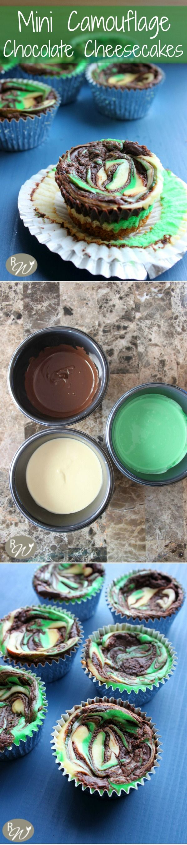 Mini Camouflage Chocolate Cheesecakes | therusticwillow.com