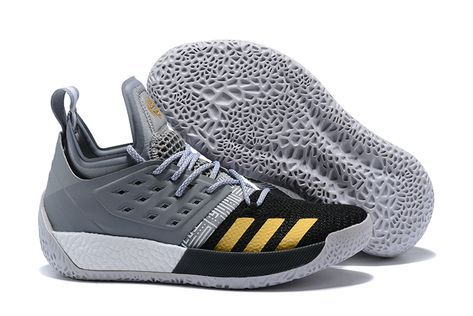 08bf9909a32 2018 adidas Harden Vol. 2 Cool Grey Black-Gold Basketball Shoes ...