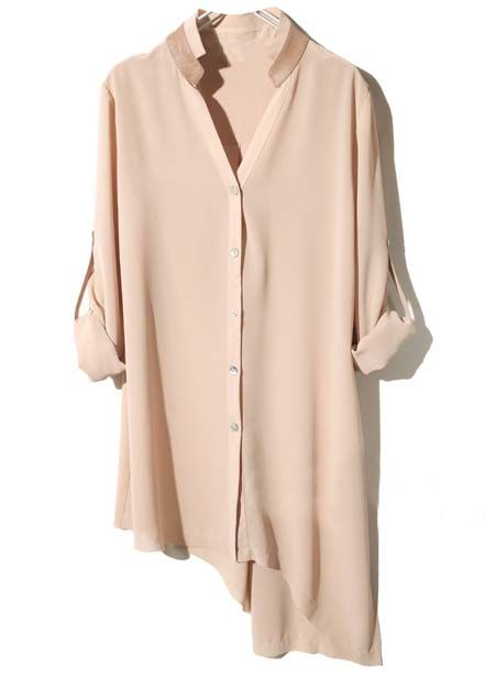 Nude Contrast Leather Asymmetrical Chiffon Blouse