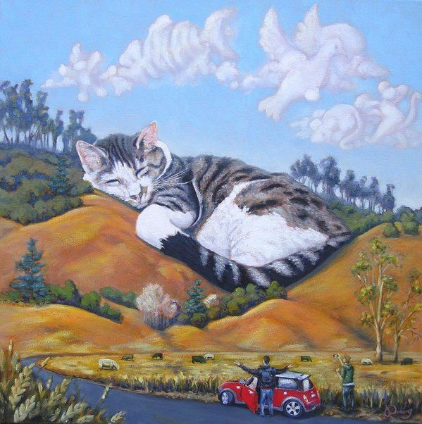Cat Print featuring the painting California Dreams by James Derieg