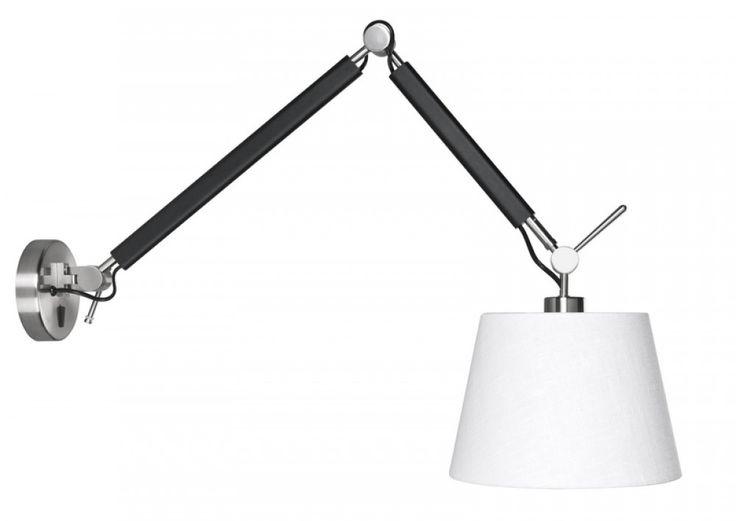 Arm-Wandlampe schwarz mit Lampenschirm, Wandleuchte schwarz mit Lampenschirm weiß - Leuchten