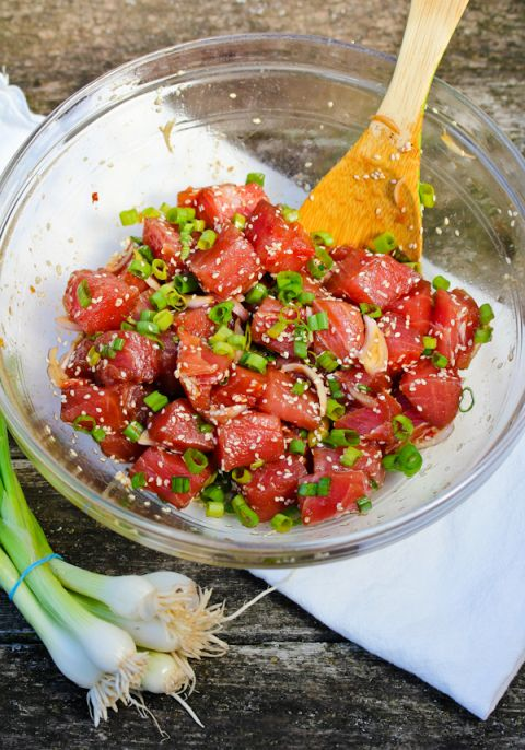 hawaiian-poke bowls- I add coconut rice/spinach and avocado to the bowl top with ahi poke and wasabi/soy.