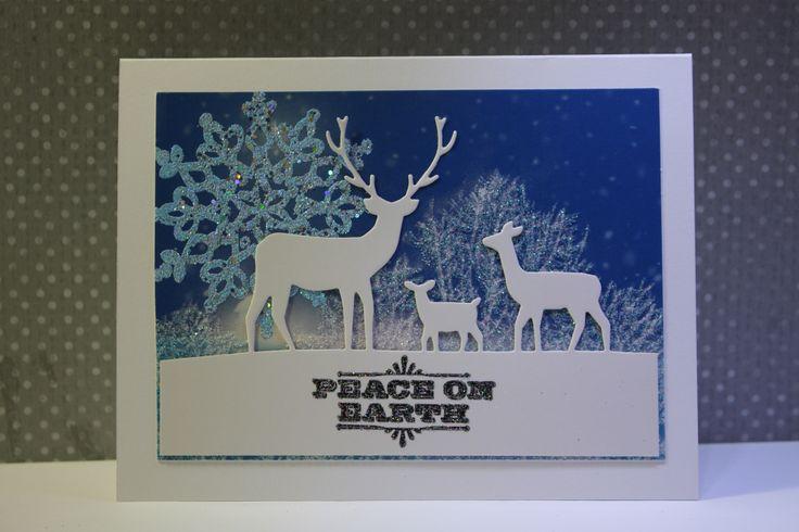 Recycled card with Memory Box Deer Die