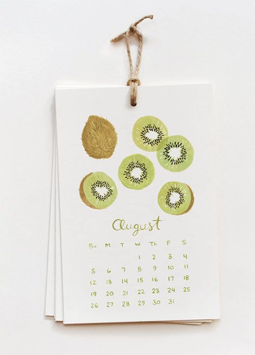 calendar- august evidently month of the kiwi