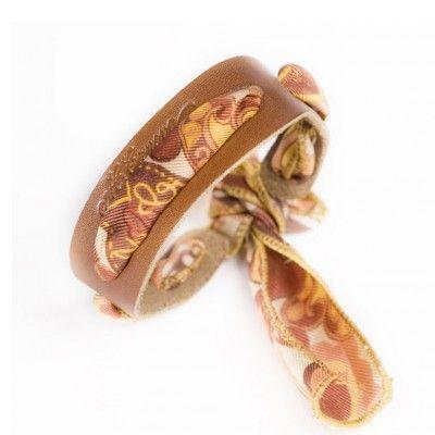 Bracelet en cuir et soie - coloris marron