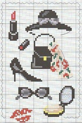 0 point de croix accessoires noires de femme - cross stitch black lady accessories