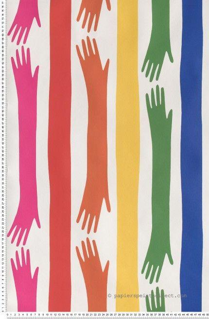 Rainbow who - Papier peint JC de Castelbajac de Lutèce #colors #hand #wallpaper http://www.papierspeintsdirect.com/papier-peint/motifs-rayures.html