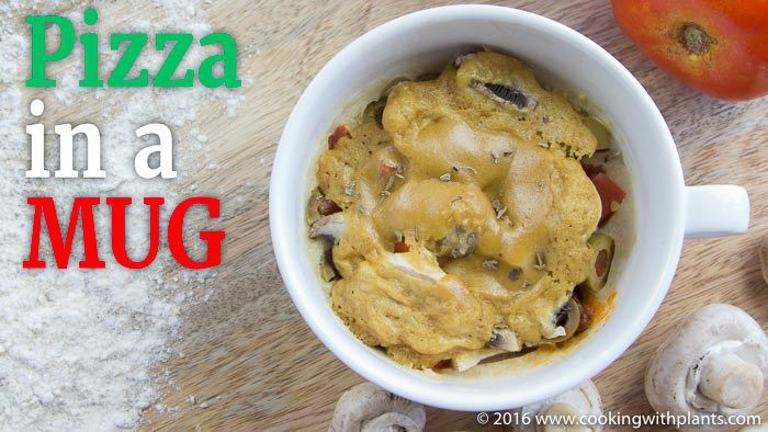 This 1 Minute vegan pizzain a mug is a simple stir, top, microwave and eat recipe! Just a few simple ingredients and you can indulge your pizza cravings with a single serve delightthat tastesamazing. This is an easy food hack idea and a perfect recipe for kids (or big kids like me)!Vegan Pizza In a